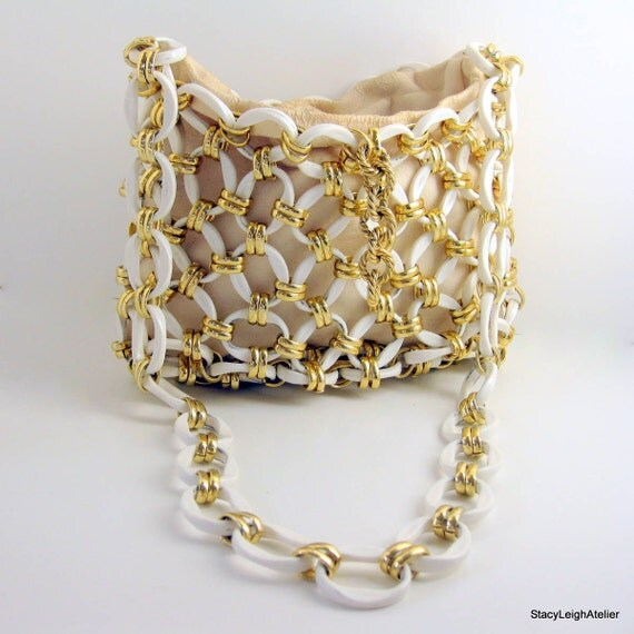 Raoul Calabro Gold and White Chain Link Leather Purse 1960 - 1970 High End Designer Bag SALE