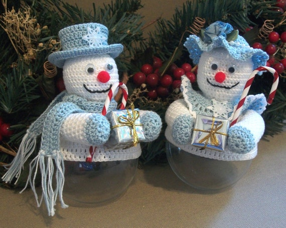 Christmas Ornament Covers Snow Couple Crochet Thread Patterns PDF