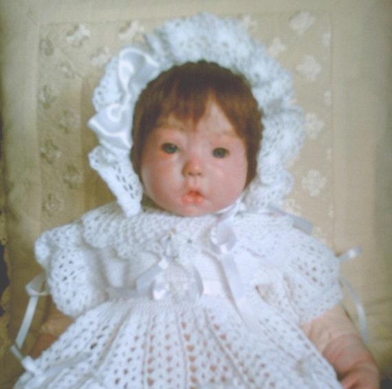 BABY CROCHET CHRISTENING DRESS SHOES BONNET Thread PATTERN