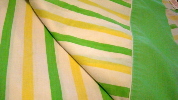 Vintage Full Flat Sheet with Green and Yellow Stripes / Reclaimed Bed Linens