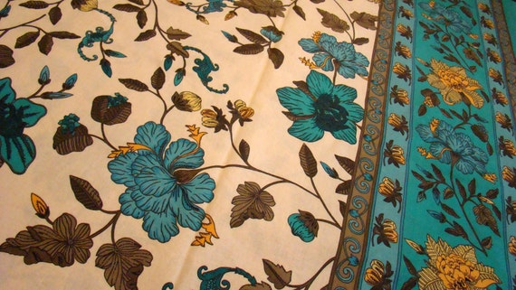 Vintage Floral Cotton Shower Curtain Like New / Reclaimed Bed Linens