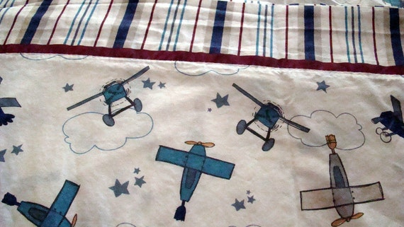 Vintage Twin Flat Sheet with Planes for the Boys / Reclaimed Bed Linens