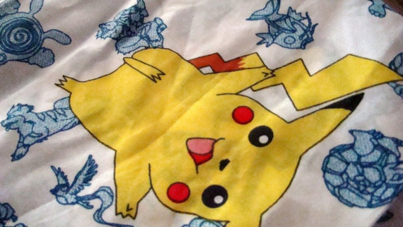 Pokemon Twin Flat Sheet, Sham and Valance / Reclaimed Bed Linens