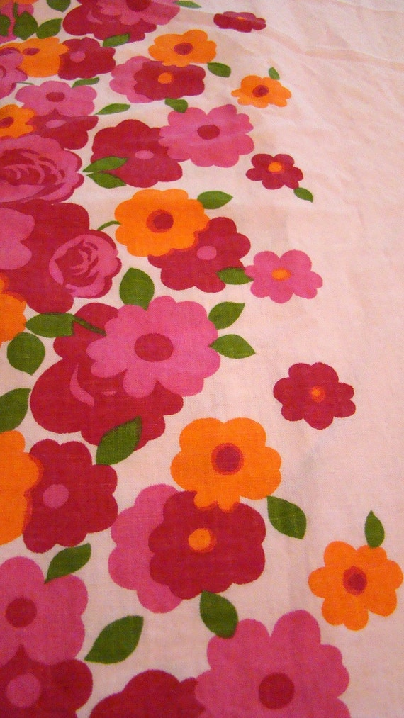 Sale Flower Power Cotton Pink Floral Oversized Pillow Cover / Reclaimed Bed Linens