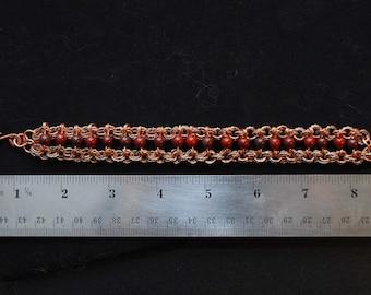 Copper Ladder Bracelet with Brecceated Jasper