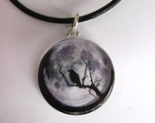 Raven /Crow, Full Moon Pendant Necklace w/ MUST SEE Back