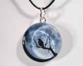 Raven /Crow, Blue Moon, Bare Trees - Glass Pendant