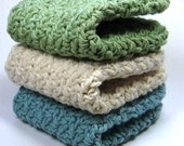 Soothing Spa Washcloths, Crochet Cotton Dishcloths, Crochet Face Cloths, Dish Scrubbers, Teal Blue, Green and Off White