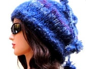 Convertible Hat Cowl Scarf, Blue Multicolor Scarf, One of a Kind