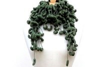 Sage Green Fluffy Crochet Scarf, Long Skinny Pom Pom Scarf Clearance Sale