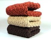 Warm Winter Crocheted Washcloths, Cotton Crochet Dishcloths, Knit Dish Cloth