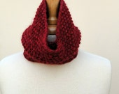 Lightweight Cowl Scarf Knitted Unisex Red Baby Alpaca Neckwarmer
