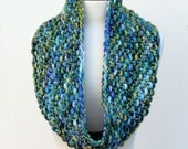 Malabrigo Chunky Knit Cowl in Greens and Indigo Blues