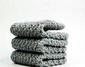 Gray Sky Dishcloths, Crochet Cotton Washcloths, Silky Face Cloths