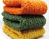 Crocheted Cotton Washcloths, Crochet Cotton Dishcloths, Kitchen Scrubbers, Bright Autumn Colors