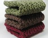 Dark Leaves Cotton Crochet Wash Cloths, Crochet Dish Cloths