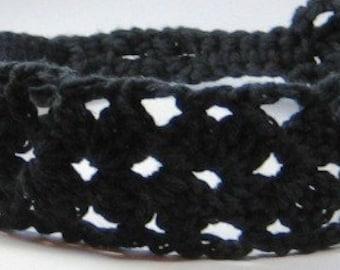 Wide Black Crocheted Lace Headband