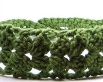 Green Crochet Lace Headband, Women Hairband, Knit Head Band