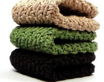 Cotton Crochet Washcloths, Dishcloths, Face Scrubbies