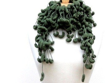 Sage Green Fluffy Crochet Scarf, Long Skinny Pom Pom Scarf Clearance Sale