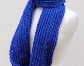 Chunky Infinity Scarf, Cobalt Blue Scarf, Crochet Chunky Cowl, Huge Loop Scarf
