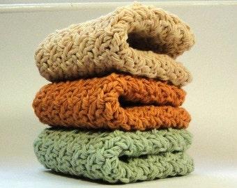Crocheted Wash Cloths, Crochet Cotton Dish Cloths, Soft Spring Colors