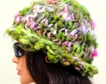 Knitted Chunky Hat...Green Pink Cap...Bulky Snow Cloche..Warm Toque