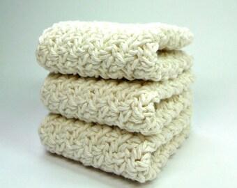 Crochet Wash Cloth, Silky Crochet Dishcloths, Ecru Crochet Washcloths, Off White Cotton Face Cloths, Crochet Dishcloths