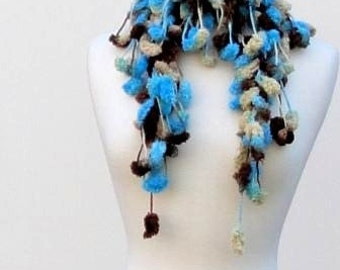Crochet Pompom Scarf Brown Blue Fluffy Neckwarmer for Women