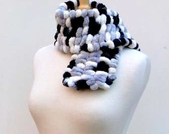 Black and White Scarf..Pom Pom Scarf..Fluffy Neckwarmer