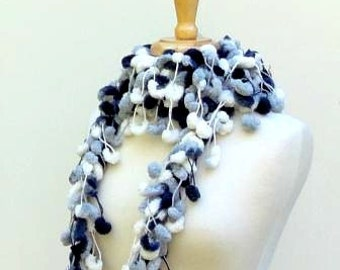 Black and White Multicolor Pom Pom Scarf, Long Crocheted Neckwarmer