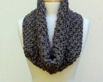 Chunky Knit Cowl Scarf Textured Taupe Man or Woman's Scarf