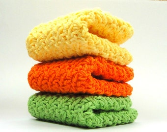 Bright Citrus Crochet Cotton Washcloths, Knit Cotton Dishcloths, Lime, Orange, Yellow Kitchen Dish Cloths