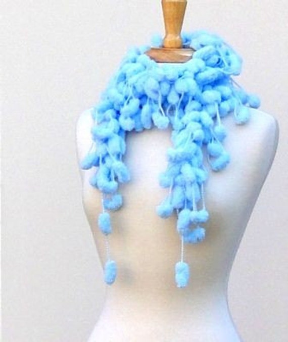 Pom Pom Scarf Fluffy Neck Warmer Crochet Scarf Light Blue