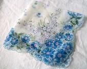 Hanky,  Handkerchief,  Hankie,  Blue Flowers