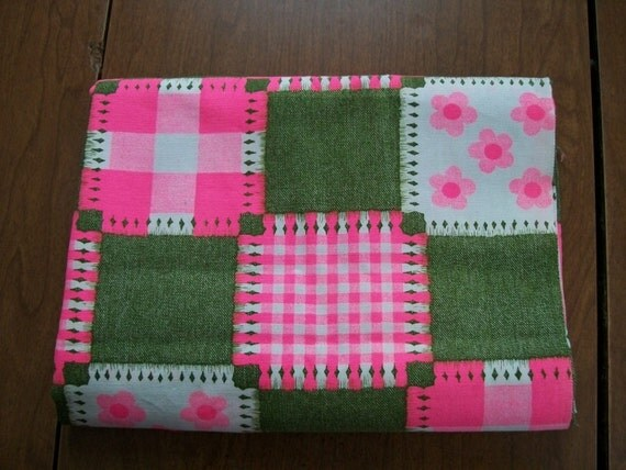 Springtime Vintage Fabric Pink Green White with Pink Flowers