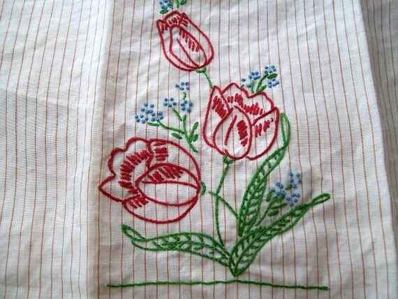 Hand Embroidery Tea Towel Red Tulips Vintage