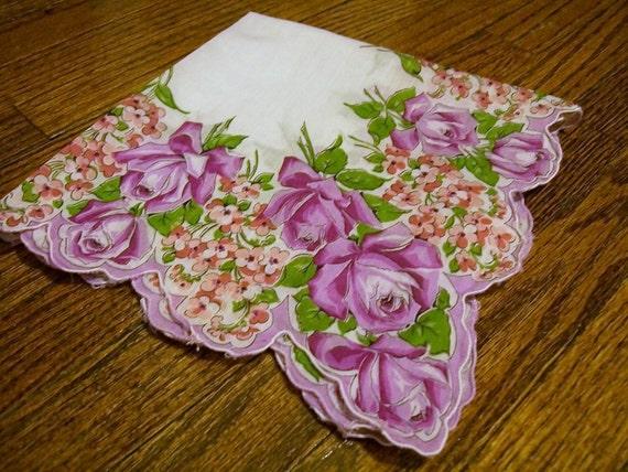 Hanky Vintage Flowered  Roses Forget-Me-Nots
