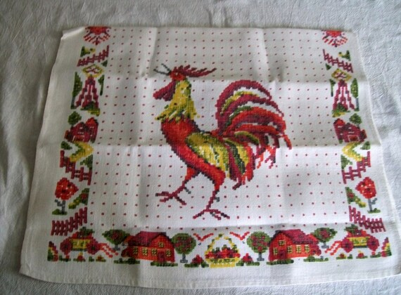 Vintage Tea Towel, Red Rooster, Dish Towel, Vintage Linens