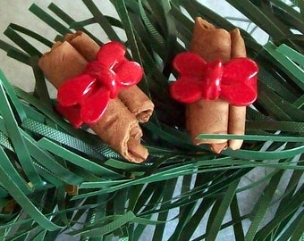 Cinnamon Stick Polymer Clay Beads with Red Ribbon