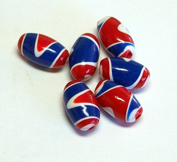 Polymer Clay Beads in Oval Shape with Red, White and Blue Patriotic Pattern