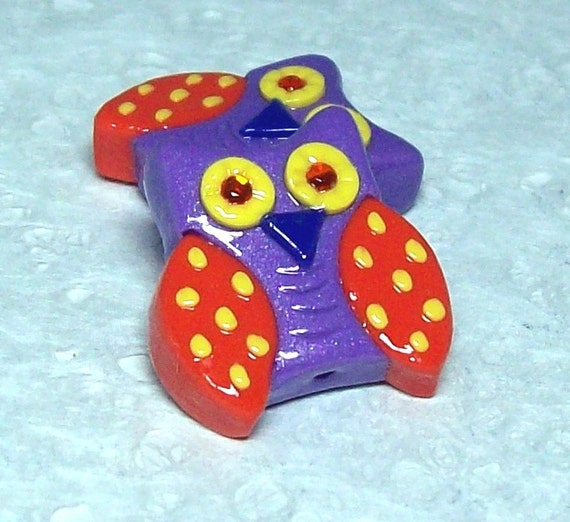 Polymer Clay Owl Beads - Cutie Owls - Purple and Orange with Yellow Polka Dots