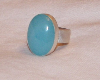 Chalcedony Sterling Silver Ring