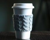 Cable Knit Coffee Cozy - Heather Gray