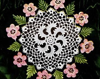 Vintage Irish Rose Doily Pattern, Rose and Leaf Doily, 4 Sizes including Mini Doily Pattern, Coaster Doily Pattern PDF ... J256