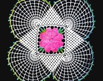 "13"" Vintage Crochet Irish Rose Square Doily Motif Pattern, Square Doily Pattern.... Spider.....Instant Download PDF... J268"