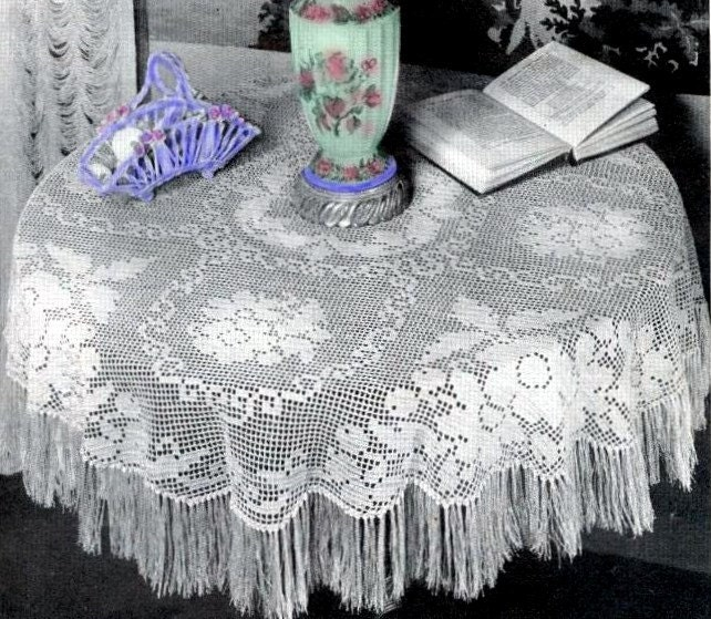 Crochet Tablecloth : Crochet Pattern FRINGE TABLECLOTH Victorian by PatternBabe