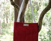 Tote Bag. Book Bag. Red Canvas Tote Bag. Small