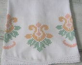 Beautiful Cross Stitched Vintage Pillowcase with orange and peach flowers