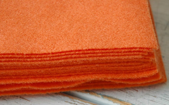 10 pieces of Orange Eco Felt made from Certified Recycled plastic PET bottles